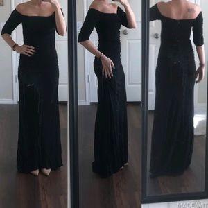 Badgley Mischka black off shoulder formal dress